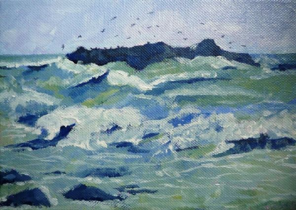Joan Speight Wild Seas Marazion acrylic on canvas